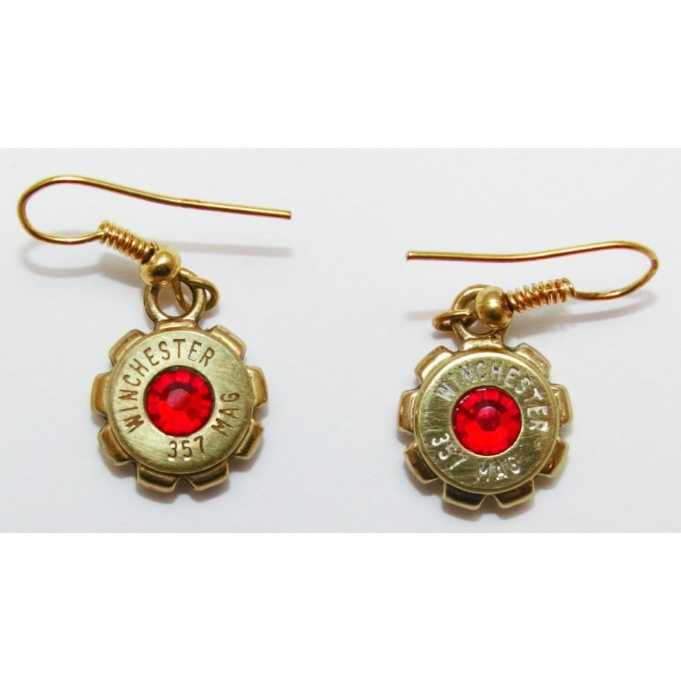 boucle d 39 oreille pendante avec culot de cartouche pierre cristal de swaroski rouge. Black Bedroom Furniture Sets. Home Design Ideas